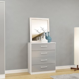 Lynx White and Grey 4 Drawer Chest