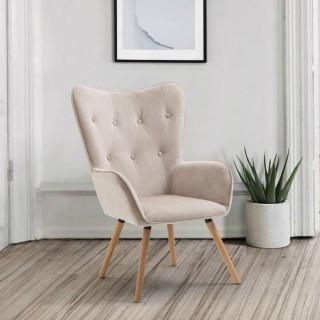 Willow Beige Velvet Fabric Chair