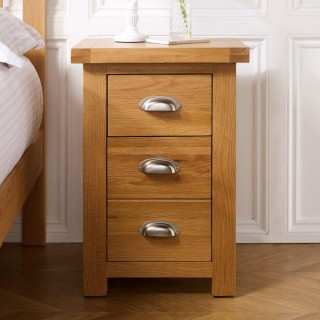 Woburn Oak Wooden 3 Drawer Small Bedside Table