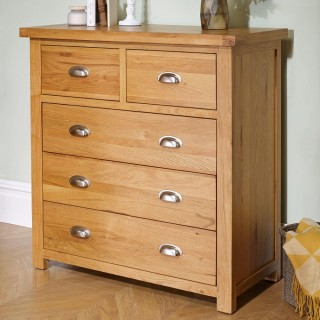 Woburn Oak Wooden 3+2 Drawer Chest