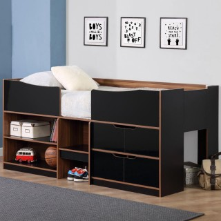 Paddington Black and Walnut Cabin Bed