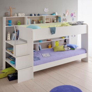 Bibop White Wooden Bunk Bed