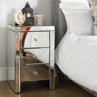 Seville Mirrored 3 Drawer Bedside Table