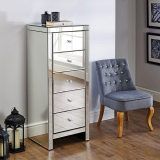 Seville Mirrored 5 Drawer Narrow Chest