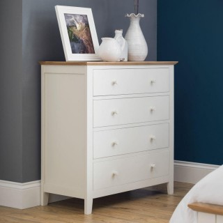 Salerno Ivory and Oak Wooden 4 Drawer Chest