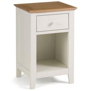 Salerno Ivory and Oak Wooden 1 Drawer Bedside Table