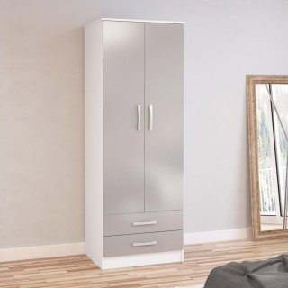 Lynx White and Grey 2 Door Combination Wardrobe