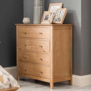 Salerno Oak Wooden 4 Drawer Chest