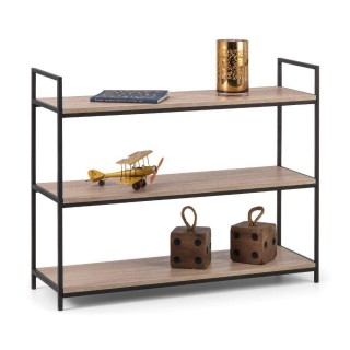 Tribeca Oak Wooden and Metal Low Bookcase