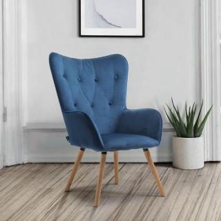 Willow Midnight Blue Velvet Fabric Chair