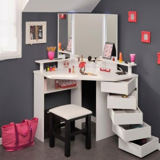 Beauty Bar Corner Dressing Table White