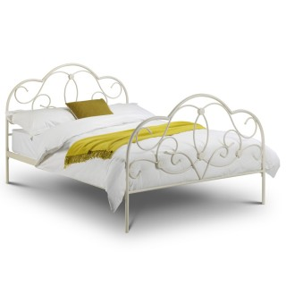 Arabella Stone White Metal Bed