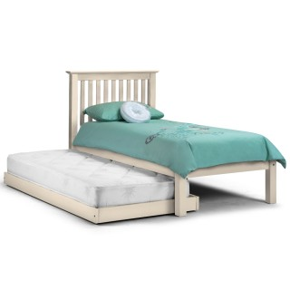 Barcelona Stone White Finish Solid Pine Wooden Guest Bed and Trundle - 3ft Single