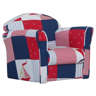 Children's Blue Patchwork Mini Armchair