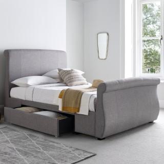 Bronte Grey Fabric 2 Drawer Storage Bed