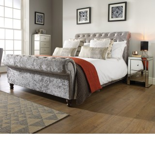 Castello Steel Fabric Scroll Sleigh Bed