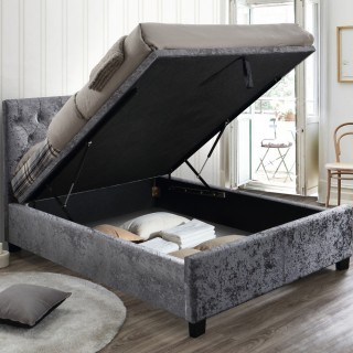 Cologne Steel Fabric Ottoman Storage Bed