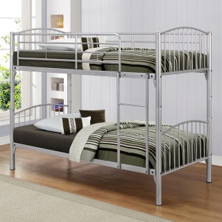 Corfu Silver Finish Metal Bunk Bed