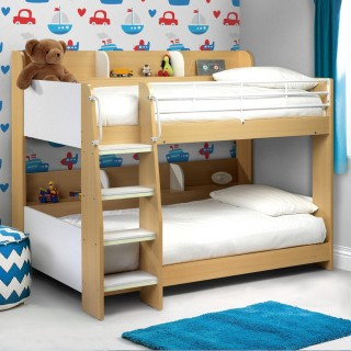 Domino Maple and White Finish Wooden and Metal Kids Storage Bunk Bed