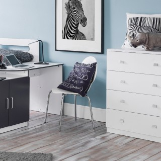 Domino White Wooden Bedroom Furniture Collection