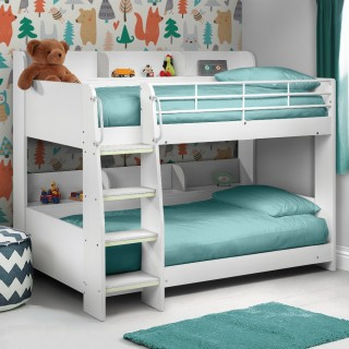 Domino White Wooden and Metal Kids Storage Bunk Bed