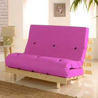 Metro Wooden Folding Guest Futon Pink Mattress