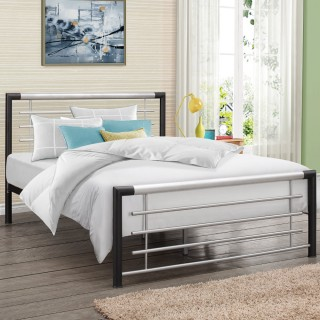 Faro Black and Silver Finish Metal Bed