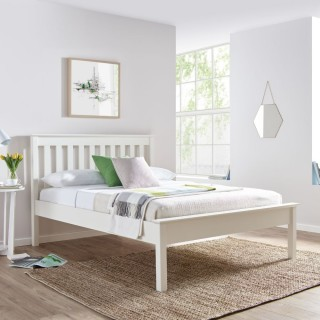Grace White Wooden Low Foot End Bed