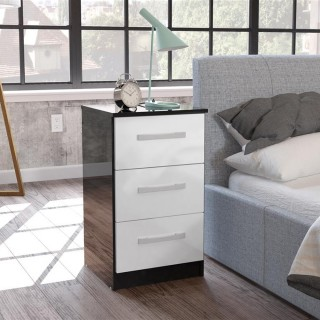 Lynx 3 Drawer Bedside Table Black and White