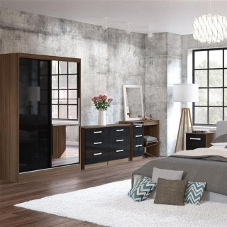Lynx Walnut and Black Wooden Bedroom Furniture Collections