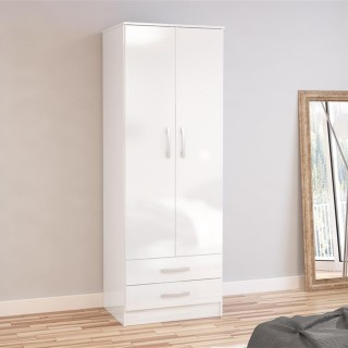 Lynx 2 Door Combination Wardrobe White