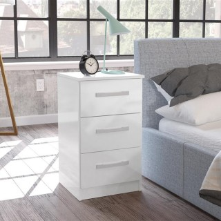 Lynx 3 Drawer Bedside Table White