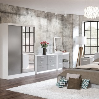 Lynx White and Grey Wooden Bedroom Furniture Collections