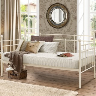 Lyon Cream Metal Guest Day Bed - 3ft Single