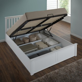 Phoenix White Wooden Ottoman Storage Bed