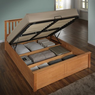 Phoenix Oak Wooden Ottoman Storage Bed