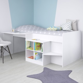 Pilot White Wooden Mid Sleeper Cabin Bed