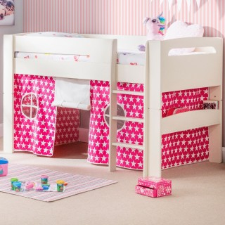 Pluto Stone White Wooden Mid Sleeper with Starry Pink Tent