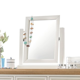Portland Stone White and Oak Dressing Table Mirror - 53 x 54 cm