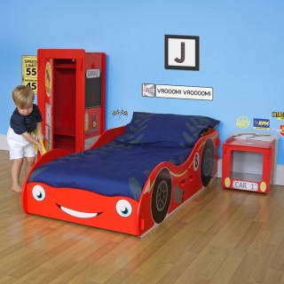 Racing Car Red Wooden Children's Bedroom Furniture Collection