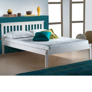 Salvador White Washed Finish Solid Pine Wooden Bed