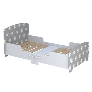 Star Grey and White Toddler Bed