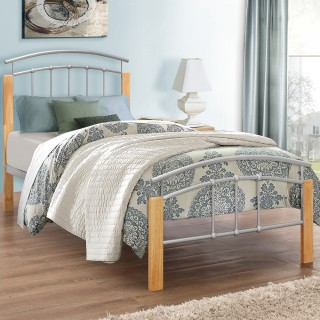 Tetras Beech Finish Wooden and Metal Bed