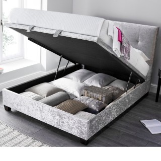 Walkworth Silver Velvet Fabric Ottoman Storage Bed