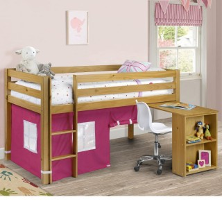 Wendy Pink Fabric Play Tent Solid Pine Wooden Kids Mid Sleeper Sleep Station Desk Theme Storage Bed