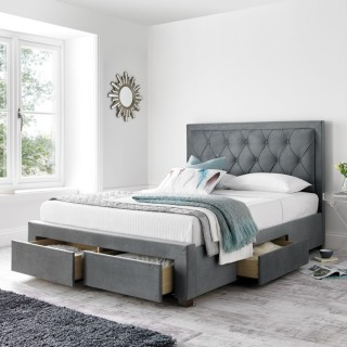 Woodbury Grey Fabric 4 Drawer Storage Bed