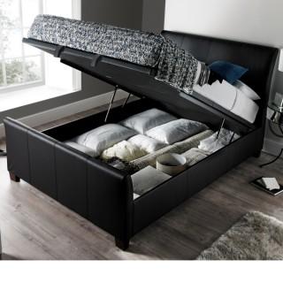 Allendale Black Faux Leather Ottoman Storage Bed