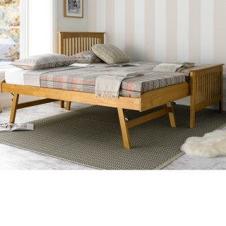 Toronto Oak Finish Wooden Guest Bed and Trundle - 3ft Single