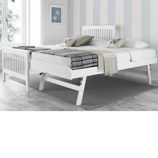 Toronto White Wooden Guest Bed and Trundle - 3ft Single