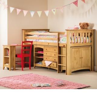 Barcelona Antique Solid Pine Wooden Kids Mid Sleeper Sleep Station Desk Cabin Storage Bed